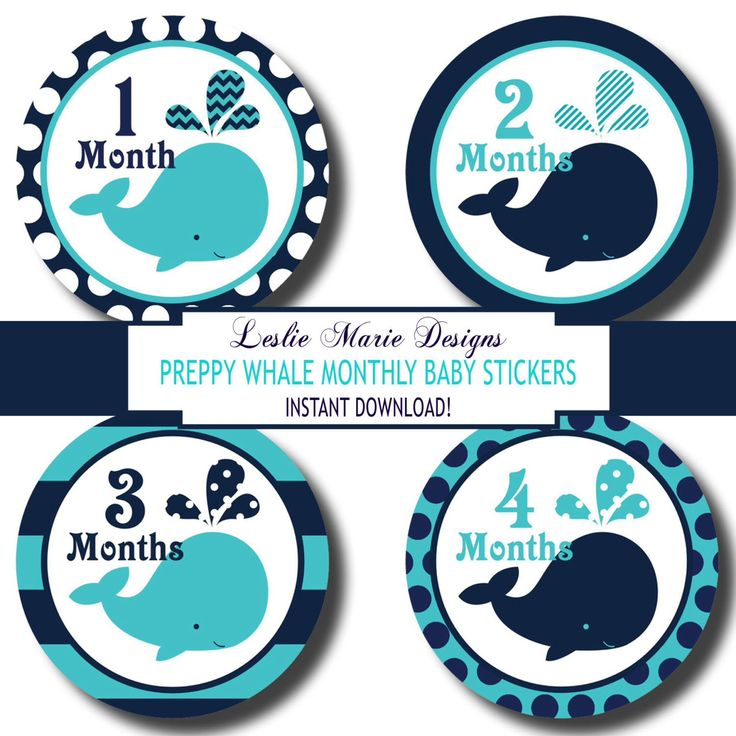 NAUTICAL WHALE Monthly Baby Milestone Stickers - Do It Yourself - Printable - Nautical Whales, Polka Dots, Stripes by LeslieMarieINSTANT on Etsy https://www.etsy.com/listing/179732648/nautical-whale-monthly-baby-milestone