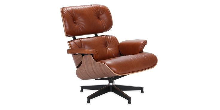 Eames Lounge Chair brown  - Aniline Leather - Brown