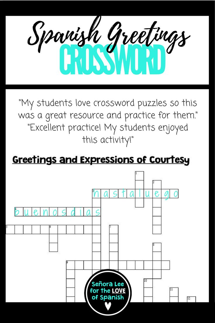 Practice 18 Spanish greetings, farewells and expressions of courtesy in this crossword puzzle. https://www.teacherspayteachers.com/Product/Spanish-Greetings-Farewells-Expressions-of-Courtesy-CROSSWORD-1414288
