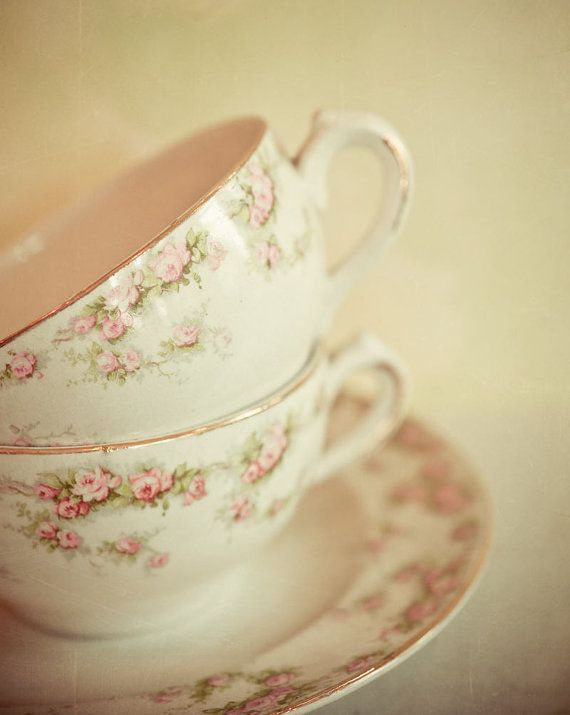 Vintage tea cup photography, still life, pastel decor, tea for two, pink, cream,  8x10 photograph