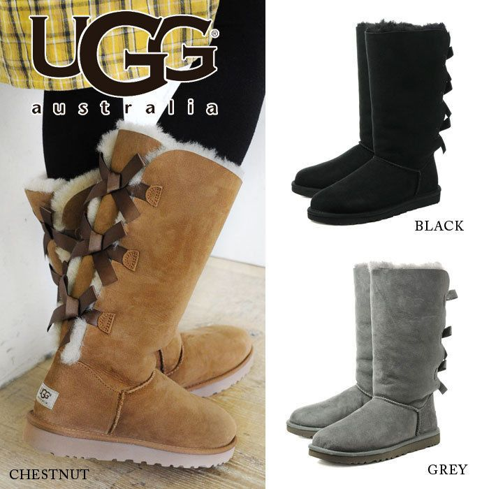 Womens Boots UGG Bailey Bow Tall Grey