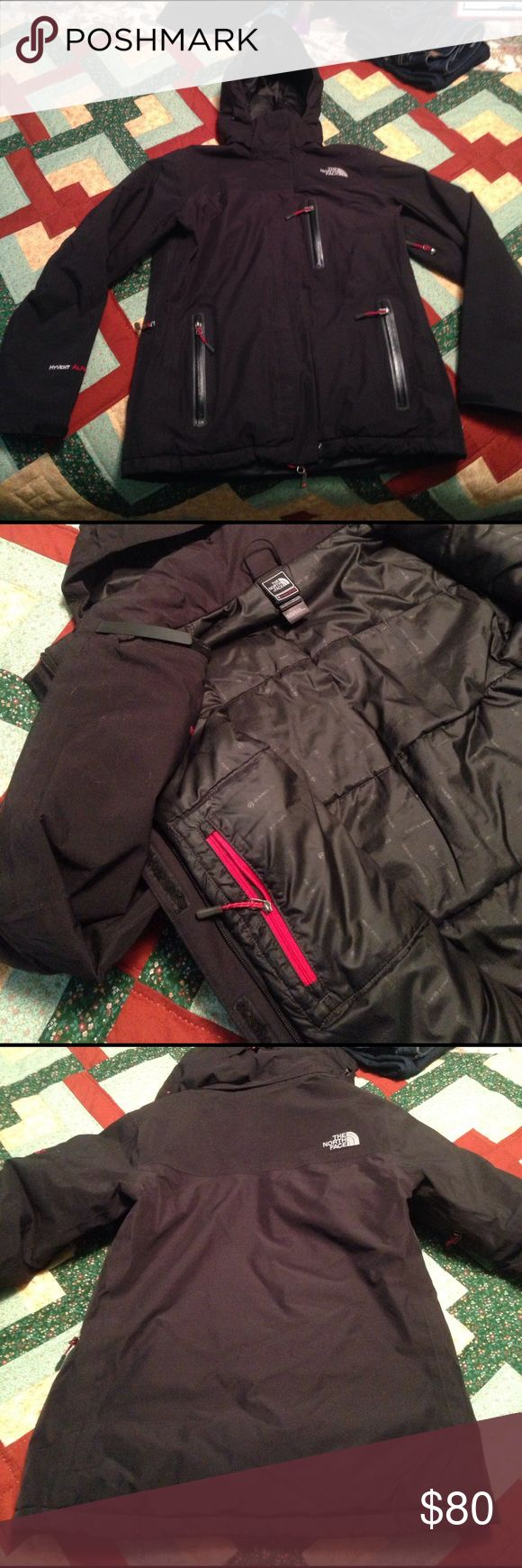 Womens North Face summit series winter coat sz M Medium North Face summit series black winter coat. It has been loved so there are some parts of the coat with pulling but it is possible to remove with some t.l.c. The hood zips off, there are pockets inside and out and the coat falls to about mid hip. It's a great piece I just received a new one for Xmas and don't want this to go to waste. I DO have a white dog so there will be a few hairs on it! Again, it's a great jacket, just needs some…