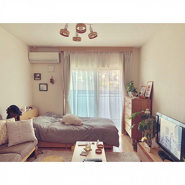 部屋全体 1k 1人暮らし スヌーピー 北欧 ナチュラル などのインテリア実例 2019 05 11 14 38 26 Roomclip ルームクリップ 部屋 シンプル 小さな部屋 部屋