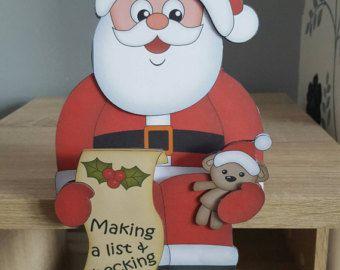 Santa, christmas card, naughty or nice list, christmas on the shelf card, decoration, keepsake, envelope, father Christmas