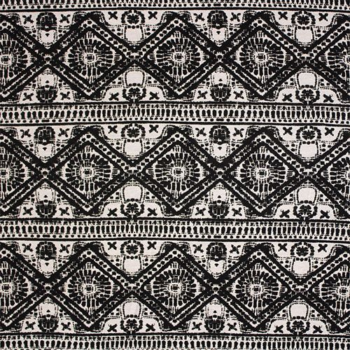 """Black Ivory Ethnic Diamond Rows Cotton Jersey Blend Knit Fabric - Pretty black ethnic diamond rows on an ivory color cotton jersey rayon blend knit fabric.  Fabric is soft with a nice stretch, light weight.  Largest row measures 4 1/2"""".  ::  $6.25"""
