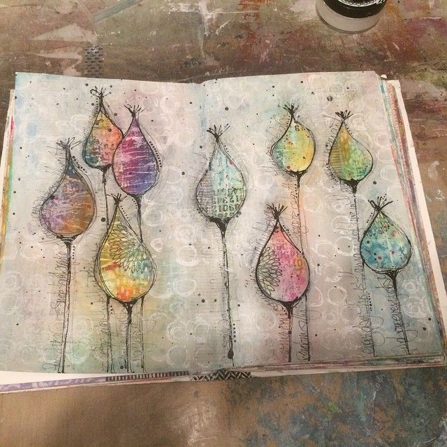 """61 Likes, 6 Comments - Janice Hofman (@thingsjanicemakes) on Instagram: """"#Journal page this evening .. inspired by @deedeecatron videos.... #mixedmedia #artjournal #pods"""""""