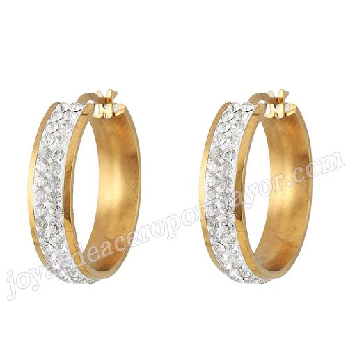 Material:Acero Inoxidable     Nombre:Zarcillos enchapado oro con cristal   Model No.:SSEG203   Talla:22mm   Peso:5.23g/pair