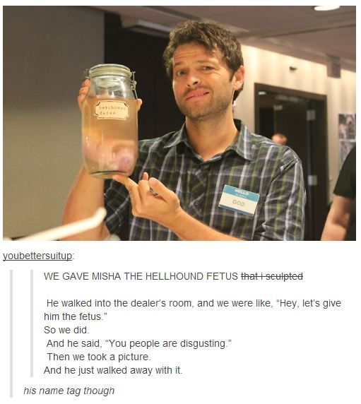 """You people are disgusting."" - Misha Collins   lol"