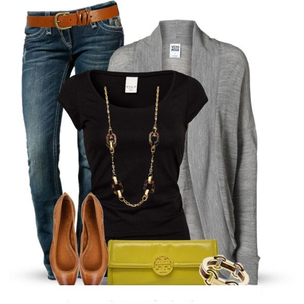 Casual Outfit: Fashion, Outfit Ideas, Clothing, Clutches, Jeans, Grey Cardigan, Simple Style, Casual Outfits, While