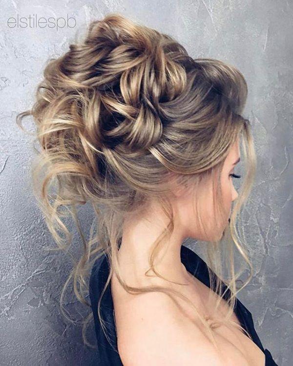 High Messy Bun Bridal Updo Short Hair In 2019 Pinterest
