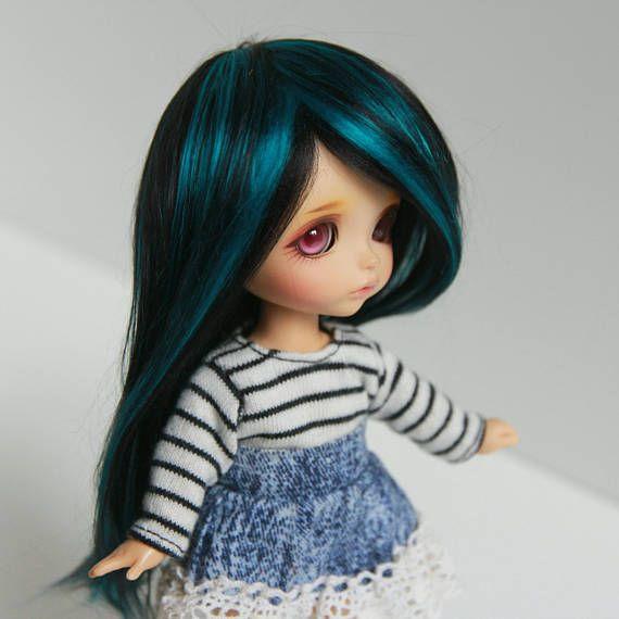 Lati yellow 5-6 wig mix black and turquoise petrol blue