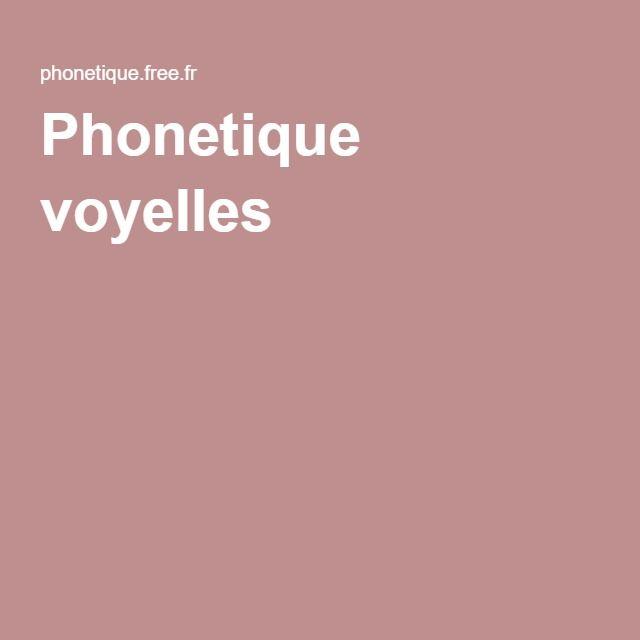 Phonetique voyelles