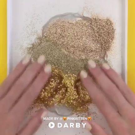Gold Glitter Slime Recipe #diy #glitter #slime #darbysmart