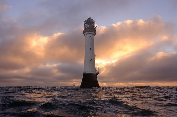 Winter sunrise at the Bell Rock lighthouse (12 miles off of Arbroath), Angus, Scotland by iancowe, via Flickr