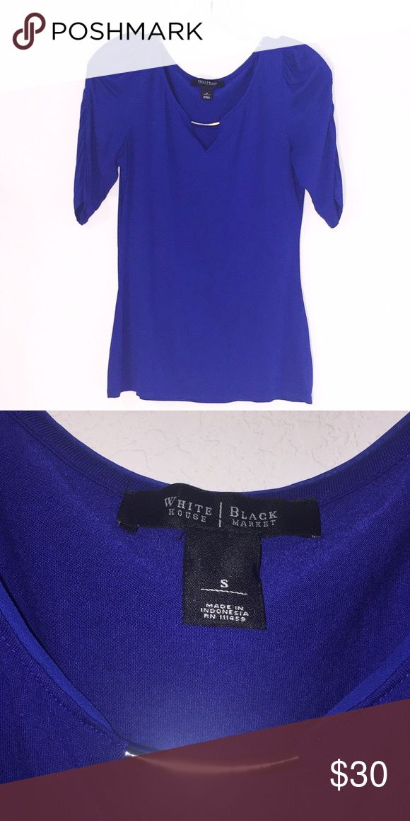 White House black market Cobalt Blue Blouse Gorgeous Cobalt blue Blouse in perfect condition. Stretchy fabric and scrunchy sleeves. A silver accent piece on the neckline. Super soft and comfortable and flattering White House Black Market Tops Blouses