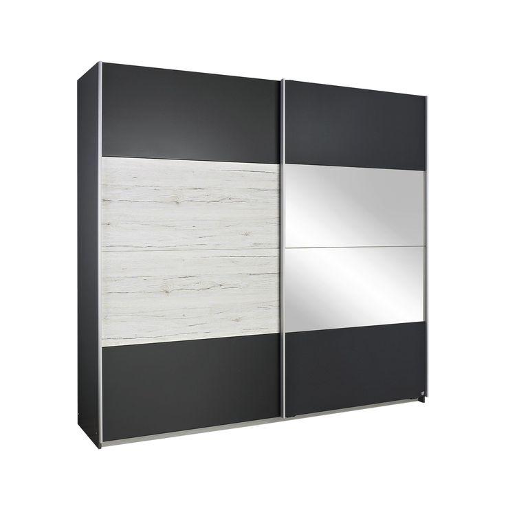 Armoire contemporaine 2 portes coulissantes 271 cm chêne clair/gris métallique Bagossa