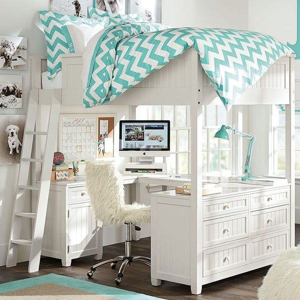 PB Teen Beadboard Loft Bed, Simply White ($2,299) ❤ liked on Polyvore featuring home, furniture, beds, wood bed, full size bed, double bed, white double bed and double loft bed