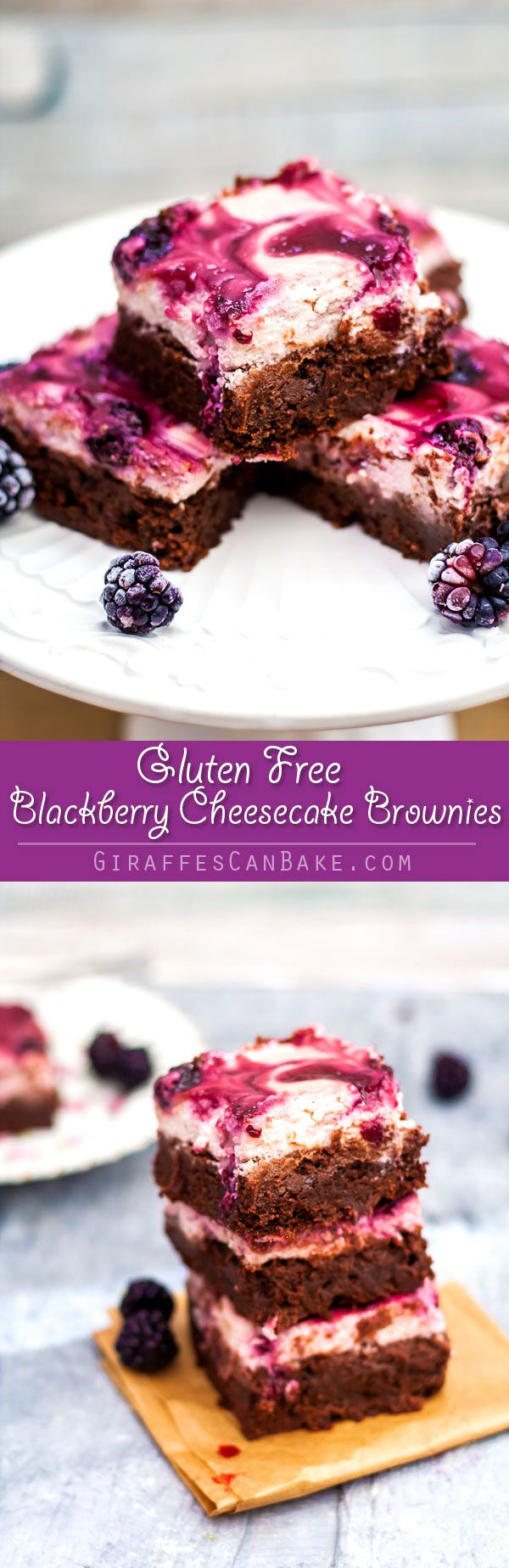 These Gluten Free Blackberry Cheesecake Brownies are chocolatey, creamy, and fruity! Fudgy brownies are topped with a thick and creamy blackberry cheesecake. So quick and easy to make, and a real crowd pleaser. Gluten free decadence!