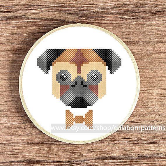 Pug PDF counted cross stitch pattern Dog von galabornpatterns