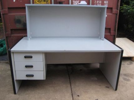 $120 Large PROFESSIONAL GREY OFFICE DESK Hutch Reception COUNTER Text 0411691171 or email info@bitspencer.com