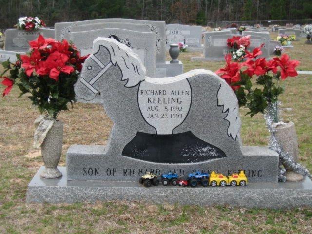 A rocking horse memorial for a child gone too soon.
