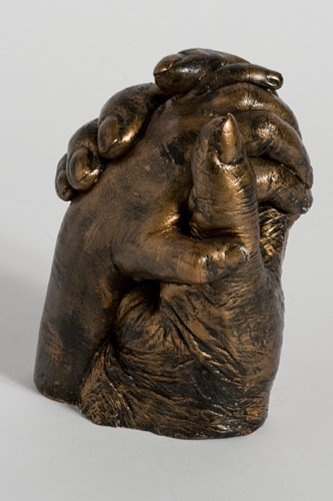 Bronze life casting of 90 yr old Great Grandmother with her 5 yr old Great Granddaughter.
