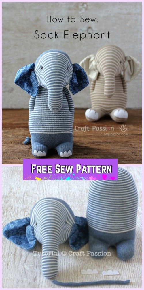 Sew Sock Elephant DIY Tutorial