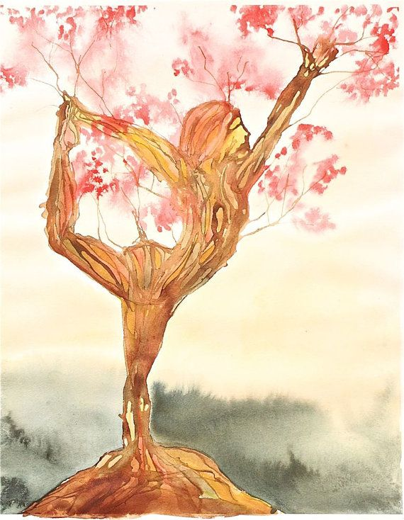 yoga painting watercolor tree landscape female by SunnyLeeStudio, $185.00