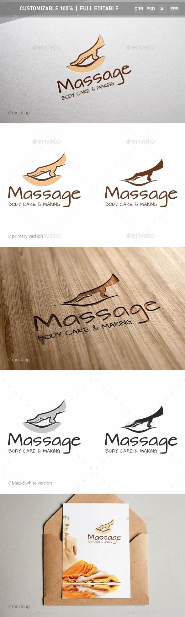 Massage Logo Template — Photoshop PSD #pain #wellness • Available here → https://graphicriver.net/item/massage-logo-template/16421493?ref=pxcr
