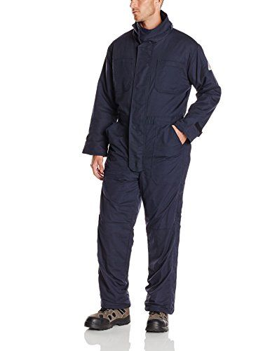 Bulwark Flame Resistant 7 oz Twill Cotton/Nylon Excel FR ComforTouch Regular Premium Insulated Coverall with Concealed Snap Closure, Navy