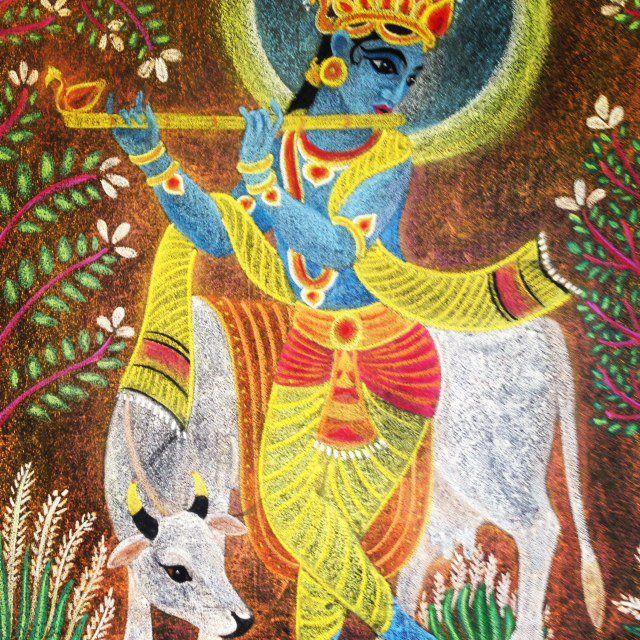 Waldorf ~ 5th grade ~ Ancient India ~ Krishna Playing Flute ~ chalkboard drawing