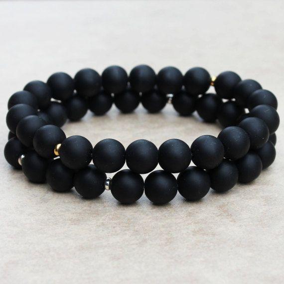 Artisan Matte Black Onyx Yoga Mala Bracelet | Unisex Wrist Mala | Men Beads | Spiritual Bracelet | Healing Stone | Mala Beads | Men Mala |