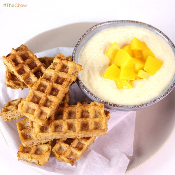 Peaches-n-Cream #Waffle Dunkers by a Fuel Up to Play 60 ambassador! #TheChew #Breakfast