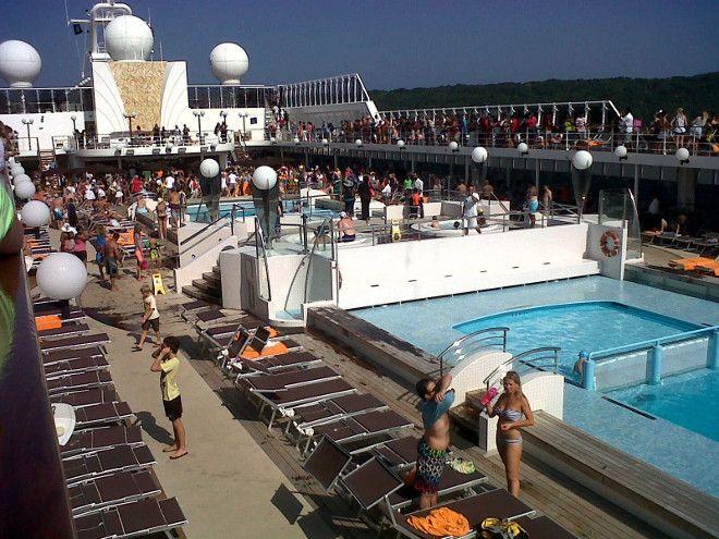 Pool deck on the MSC Opera