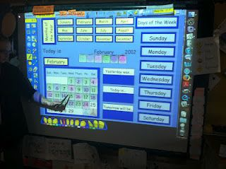 OK..now I want a smart board.  :-)  Morning messsage and calendar that is interactive, but doesn't take up my wall!!  Yes please.
