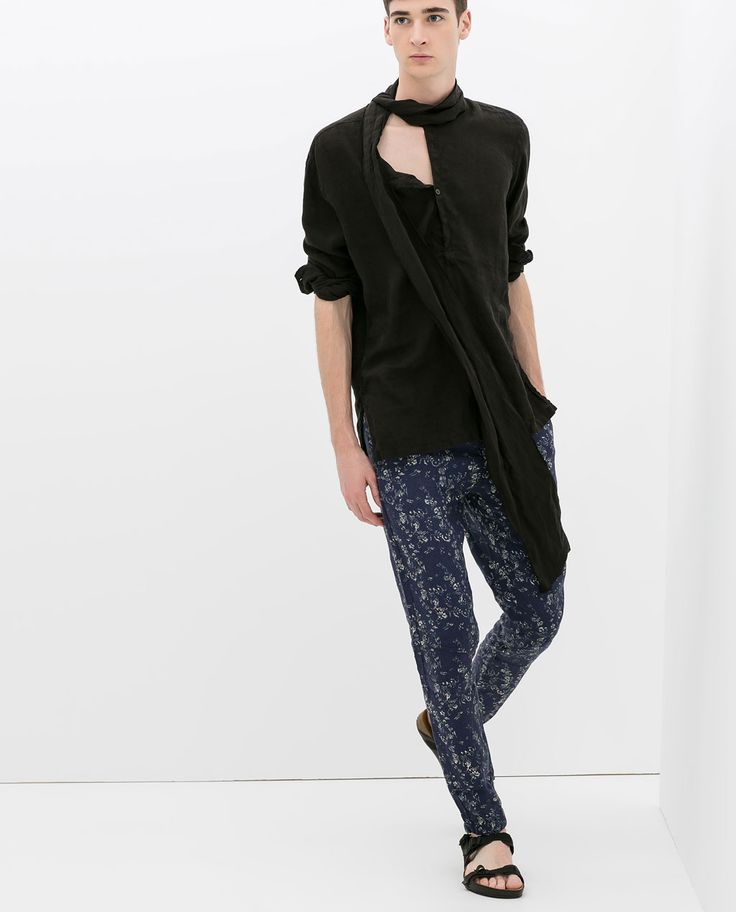 Image 1 of FLORAL LINEN TROUSERS from Zara