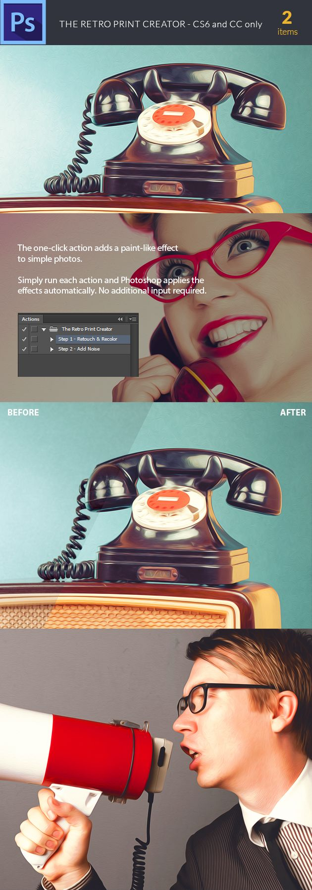 The Retro Print Creator Photoshop Action can be found here: https://www.inkydeals.com/deal/1000-photoshop-resources-bundle/