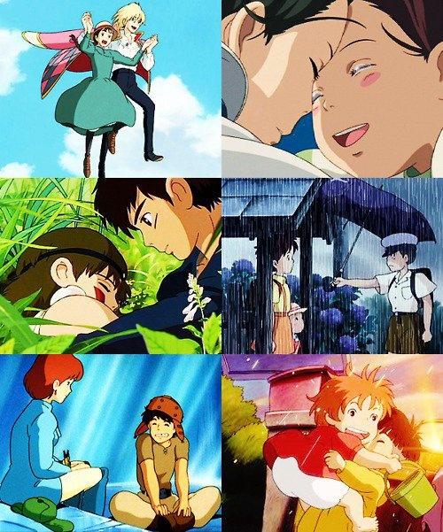 Wizard Howl and Sophie Hatter, Haku and Chihiro, San the Wolf-Girl and Ashitaka, Satsuki and Kanta, Princess Nausicaä and Asbel, Ponyo and Sosuke