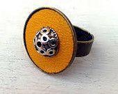Желтая кожа регулируемый кольцо. Регулируемые кольца Boho стиль