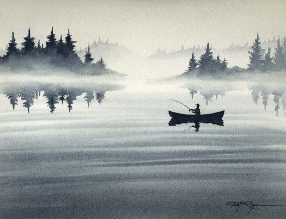 Fly Fishing Art Print EARLY TO RISE Signed by Artist D J Rogers on Etsy, $12.50