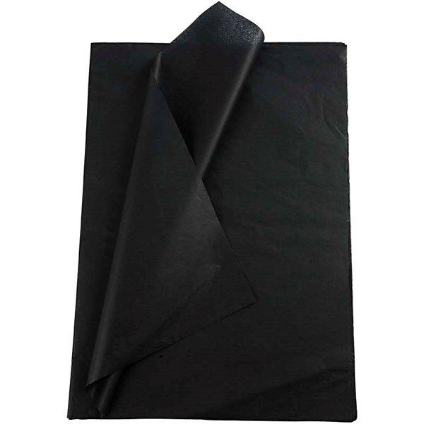 Silkkipaperi, arkki 50x70 cm, 19 g, 25 ark, musta
