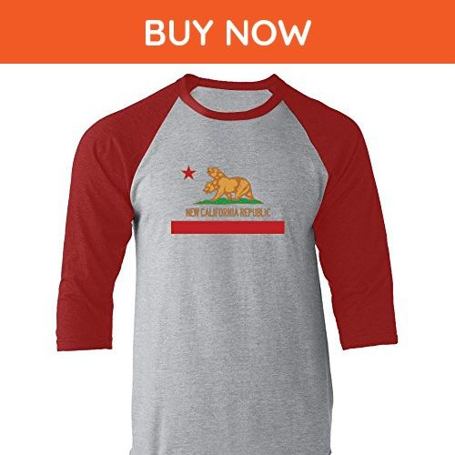 New California Republic Flag Red XL Raglan Jersey T-Shirt by Pop Threads - Cities countries flags shirts (*Amazon Partner-Link)