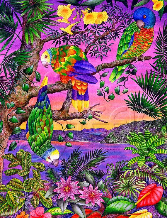 """Carolyn Steele tropicale arte stampa, tramonto, floreale, pappagalli, Caraibi in via di estinzione: """"Happy Hour"""""""