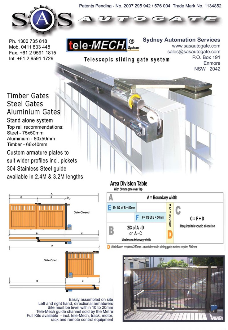 telescoping gate mechanism - Tele-Mech dual sliding gate system - Sydney NSW