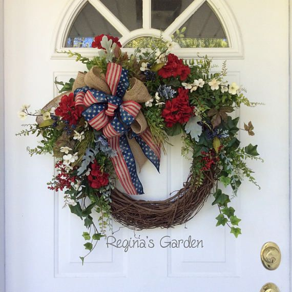 Patriotic Wreath Americana Wreath Summer Door Wreath Memorial