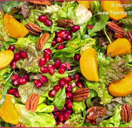 The Healthy Dish | How to make Persimmon, Pomegranate, Arugula and Pecan Salad -- its beautiful and delicious. http://wp.me/p14qMG-4Ee  #Persimmon, #Pomegranate, #Arugula