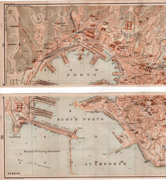 1916 Genoa City Map Set of 2 Antique Maps Vintage by Craftissimo