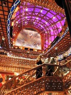 Carnival Cruises Spirit cruiseship Atrium glass ceiling and glass staircase
