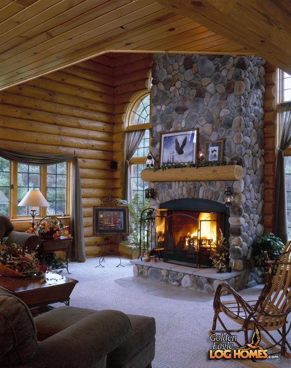 Log Home Living Rooms | Golden Eagle Log Homes: Log Home / Cabin Pictures,