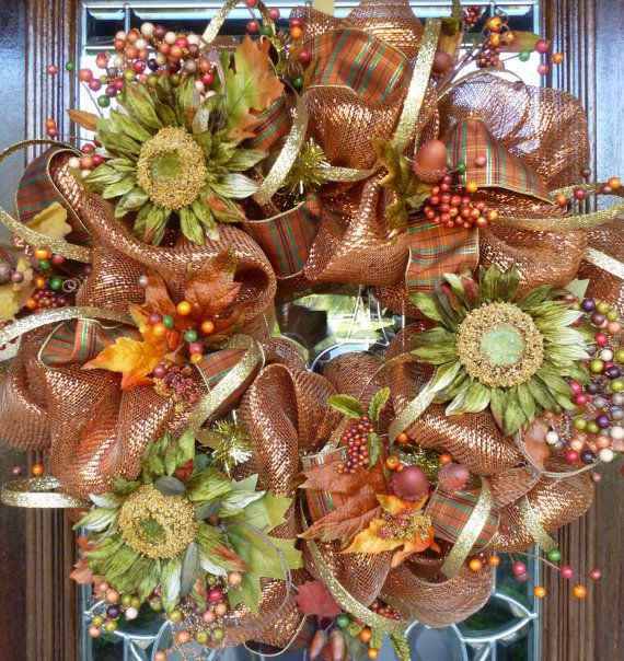 Fall Burlap Crosses | Welcome your fall or Thanksgiving guests with this bronze deco mesh ...